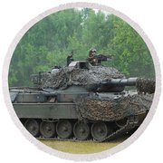 The Leopard 1a5 Main Battle Tank Round Beach Towel by Luc De Jaeger