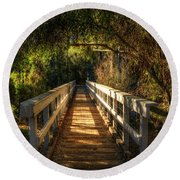 The Little White Bridge II  Round Beach Towel