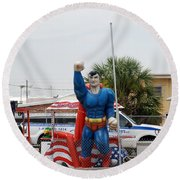 The Man Of Steel On I 95 Round Beach Towel