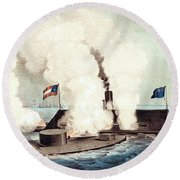 The Monitor And The Merrimac, 1862 Round Beach Towel