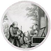 The Mozart Family On Tour, 1763 Round Beach Towel
