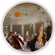 The New Planetarium In Paris, 1880 Round Beach Towel