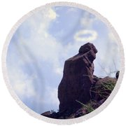The Praying Monk With Halo - Camelback Mountain Round Beach Towel