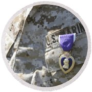 The Purple Heart Award Hangs Round Beach Towel