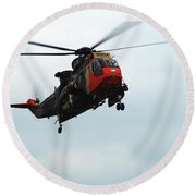 The Sea King Helicopter In Use Round Beach Towel