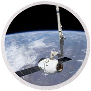 The Spacex Dragon Cargo Craft Round Beach Towel