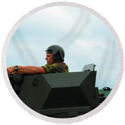 The Turret Of A Pandur Wheeled Armoured Round Beach Towel by Luc De Jaeger