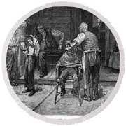 The Village Barber, 1883 Round Beach Towel
