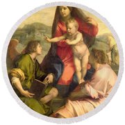 The Virgin And Child With A Saint And An Angel Round Beach Towel by Andrea del Sarto