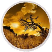 The Weight Of The Clouds In Sepia Round Beach Towel