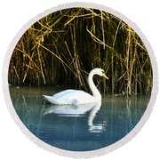 The White Swan Round Beach Towel