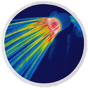 Thermogram Of A Shower Head Round Beach Towel by Ted Kinsman