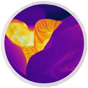 Thermogram Of A Sleeping Girl Round Beach Towel