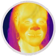 Thermogram Of A Woman Round Beach Towel
