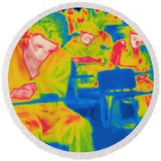 Thermogram Of Students In A Lecture Round Beach Towel