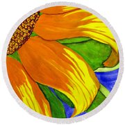 This Is No Subdued Sunflower Round Beach Towel