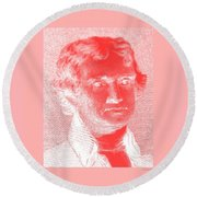Thomas Jefferson In Negative Red Round Beach Towel by Rob Hans