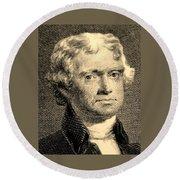 Thomas Jefferson In Sepia Round Beach Towel