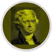 Thomas Jefferson In Yellow Round Beach Towel