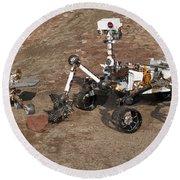 Three Generations Of Mars Rovers Round Beach Towel