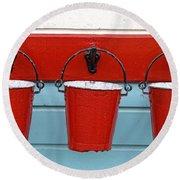 Three Red Buckets Round Beach Towel