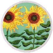 Three Sunflowers Round Beach Towel by Genevieve Esson