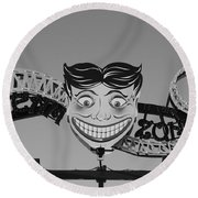 Tillie's Scream Zone In Black And White Round Beach Towel