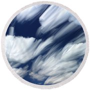 Time-lapse Clouds Round Beach Towel