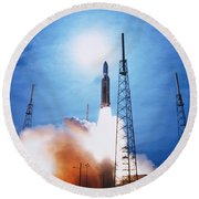 Titan Iv Rocket Round Beach Towel