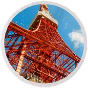 Tokyo Tower Face Cloudy Sky Round Beach Towel by Ulrich Schade