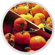 Tomatoes On The Market Round Beach Towel