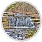 Top Of The Upper Falls Round Beach Towel