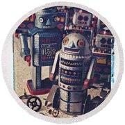 Toy Robots Round Beach Towel