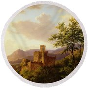Travellers On A Path In An Extensive Rhineland Landscape Round Beach Towel