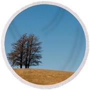 Tree Formation On A Hill Round Beach Towel