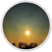 Trees And Sun In A Foggy Day Round Beach Towel