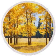 Trees In Autumn Round Beach Towel