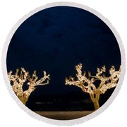 Trees With Lights Round Beach Towel
