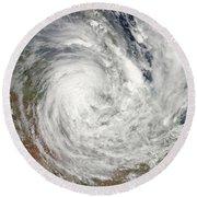 Tropical Cyclone Yasi Over Australia Round Beach Towel