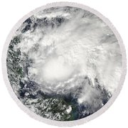 Tropical Storm Ida In The Caribbean Sea Round Beach Towel