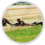 Two Soldiers Of The Belgian Army Round Beach Towel by Luc De Jaeger