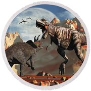 Tyrannosaurus Rex And Triceratops Meet Round Beach Towel