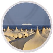 Umbrellas In The Sun Round Beach Towel