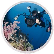 Underwater Photography Round Beach Towel