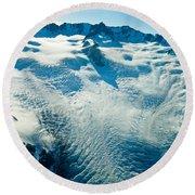 Upper Level Of Fox Glacier In New Zealand Round Beach Towel