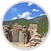 U.s. Army Soldier And An Afghan Round Beach Towel