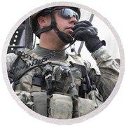 U.s. Army Soldier Communicates Round Beach Towel
