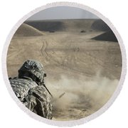 U.s. Army Soldier Fires A Barrett M82a1 Round Beach Towel