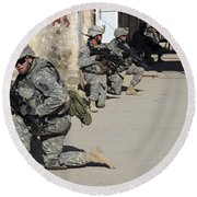 U.s. Army Soldiers Providing Security Round Beach Towel by Stocktrek Images