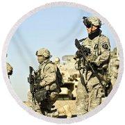 U.s. Soldiers Conduct A Combat Patrol Round Beach Towel